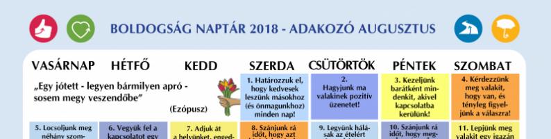 Boldogság naptár az adakozó augusztusért